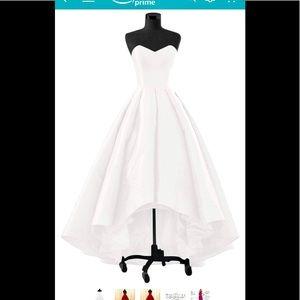 Dresses & Skirts - White taffeta sweetheart hi-low dress, lace up bak